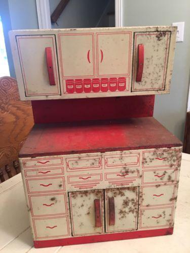 Vintage Metal Wolverine Hoosier Cabinet Cupboard 1950s Kitchen Cabinets Retro 1A