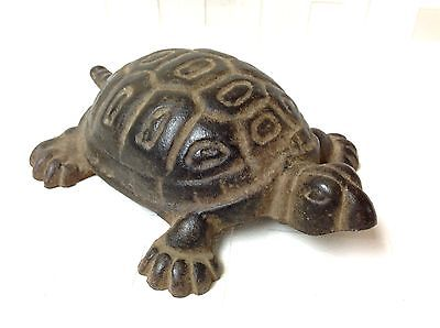 Antique BOX TURTLE  Cast Iron Metal Art Figural Doorstop