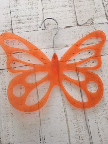 EUC Plastic Necklace Holder Orange Glitter Butterfly