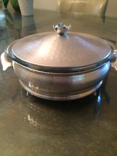 Vintage Hammered Aluminum Casserole Dish with Pyrex Dish and Lid