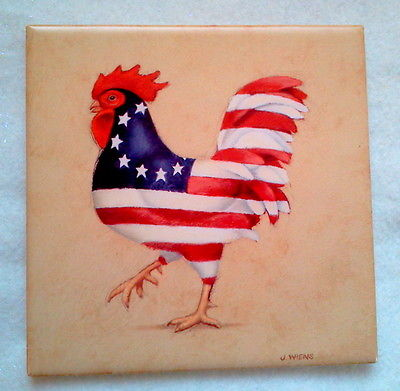 COLONIAL ROOSTER CERAMIC TILE WALL DECOR RED WHITE BLUE