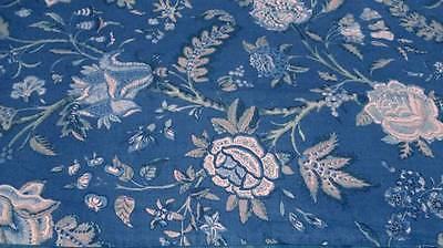 Vintage Victorian Blue floral fabric - tablecloth, upholstery, crafts costuming