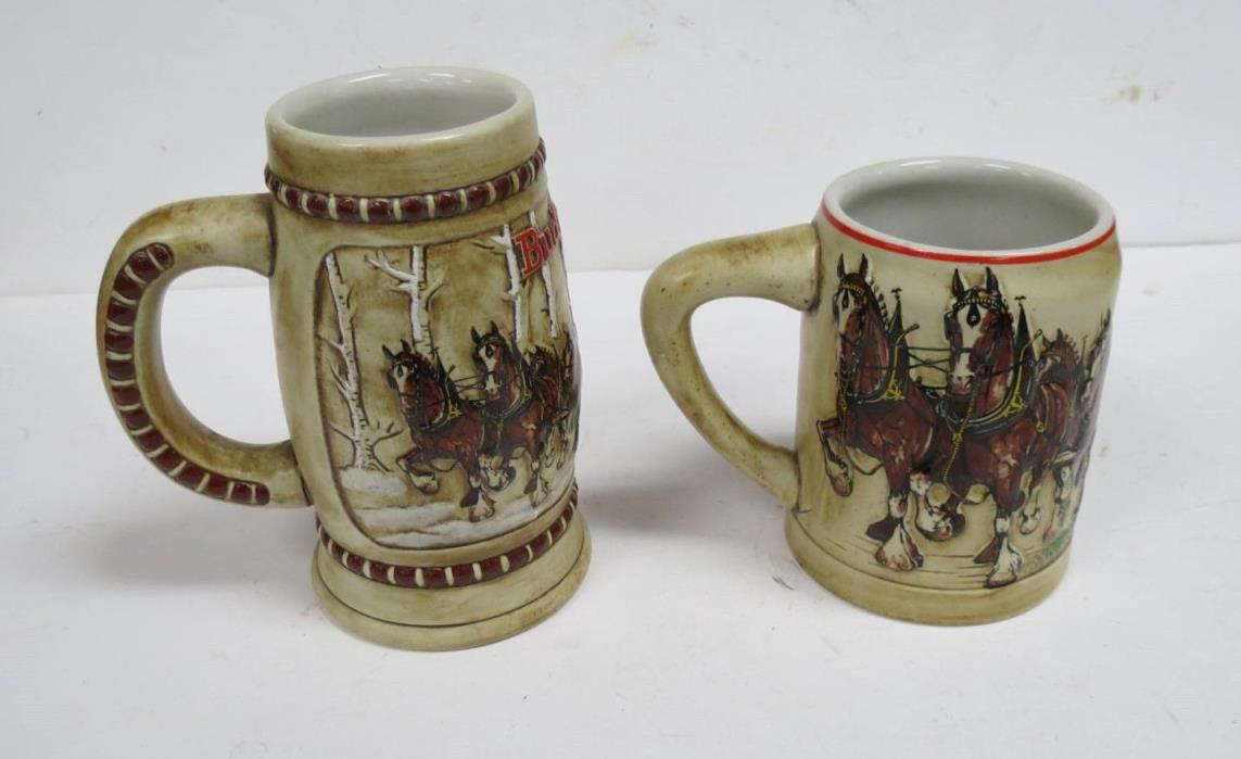 1981 and 1980 Budweiser Holiday Steins by Ceramarte Free Shipping!