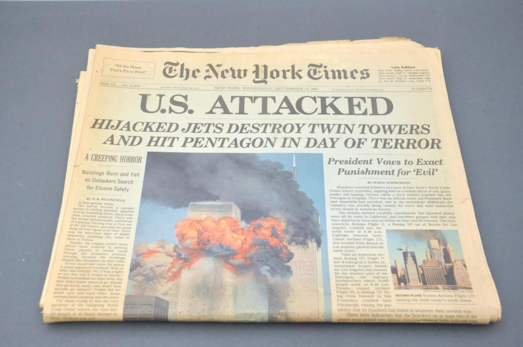 2001 New York Times 9 11 01 Newspaper NY 12 September Late Edition