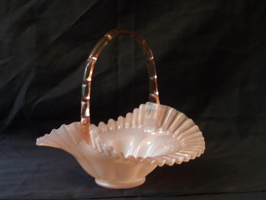 Fenton Glassware:  Rose Pink, Handled 10
