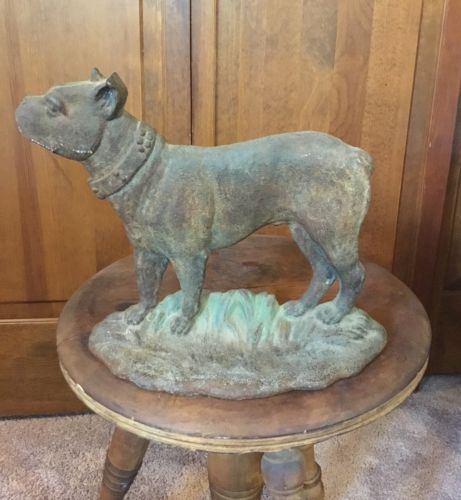 ANTIQUE B&H LG. BRADLEY & HUBBARD CAST IRON BULL MASTIFF ART STATUE DOG DOORSTOP