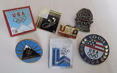 Lot of lapel and pinch back collector pins USA olympics ski team, lake placid