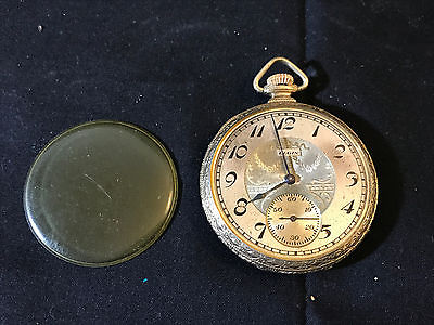 Old Vtg Gold Plated 25 Years Pilot Wadsworth Elgin Pocket Watch Jewelry