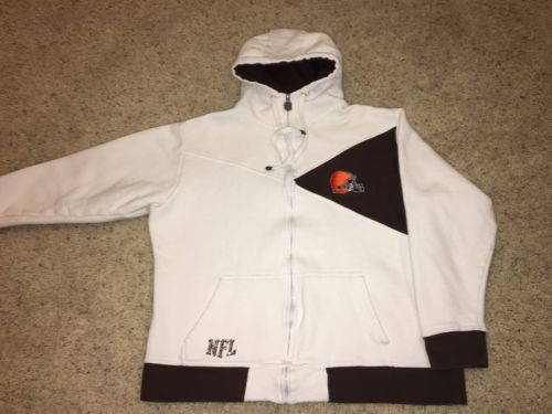 NFL Cleveland Browns Proline White Zip Hoodie Sweatshirt Sz Womens XL