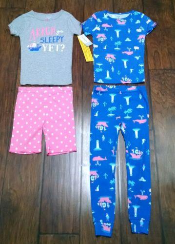 NWT 5T Carters Girl Short Sleeve Spring Summer Pajamas Pirate Shorts Pants