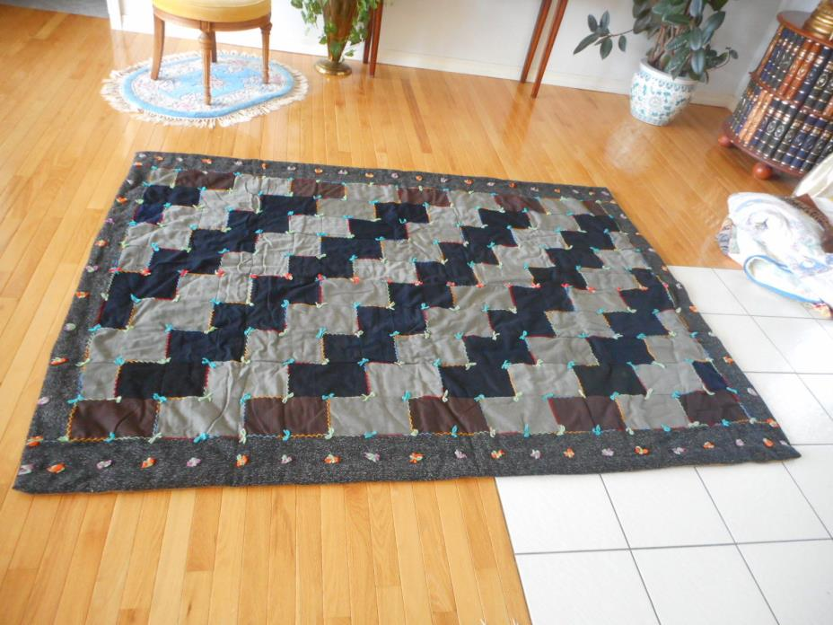 Vintage Primitive Home-Made Wool Quilt Tacking Whole cloth  Hand Stitching Ai