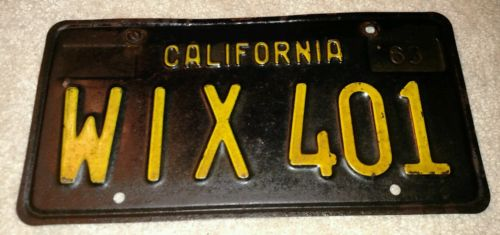 VINTAGE 1963 CALIFORNIA AUTOMOBILE LICENSE PLATE TAG WIX 401 W/ BRACKET RARE!