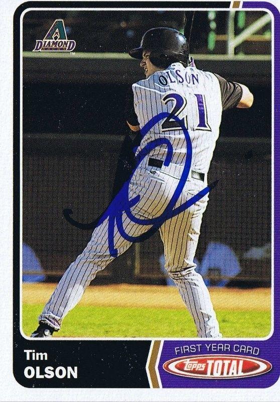 Tim Olson 2003 Topps Total Autograph #714 Diamondbacks
