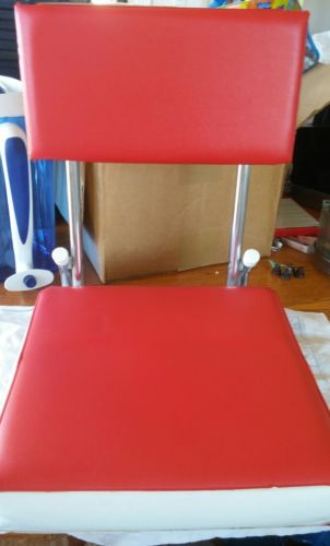 Bleacher Stadium Chairs Fishing Red and White Padded Vinyl Folding Metal Frame