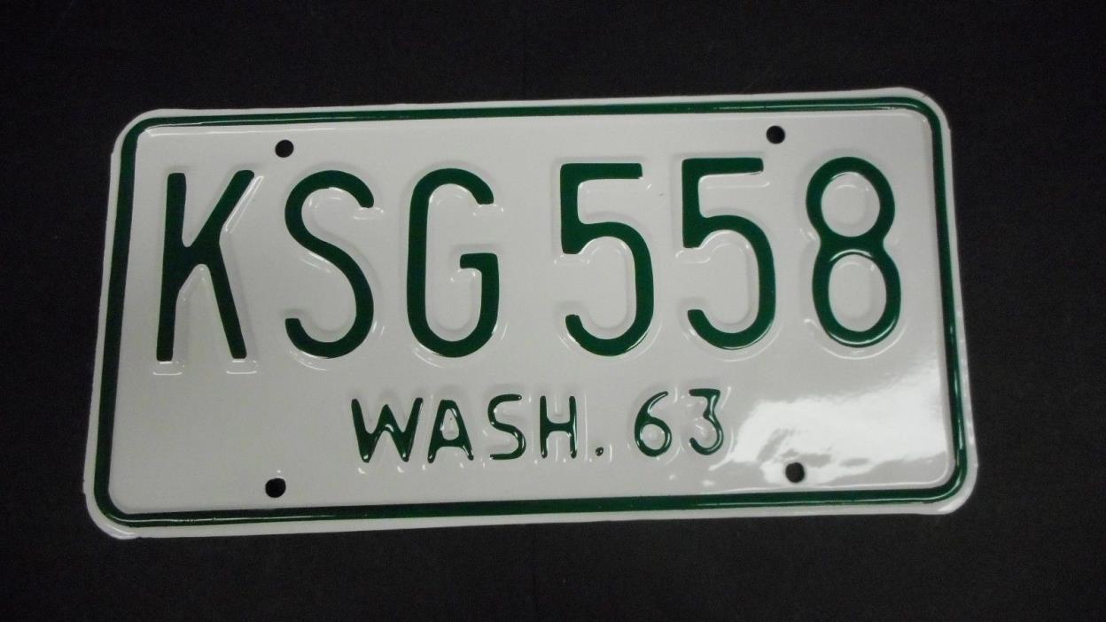 1963 64 65  Washington Single Restored License Plate KSG 558