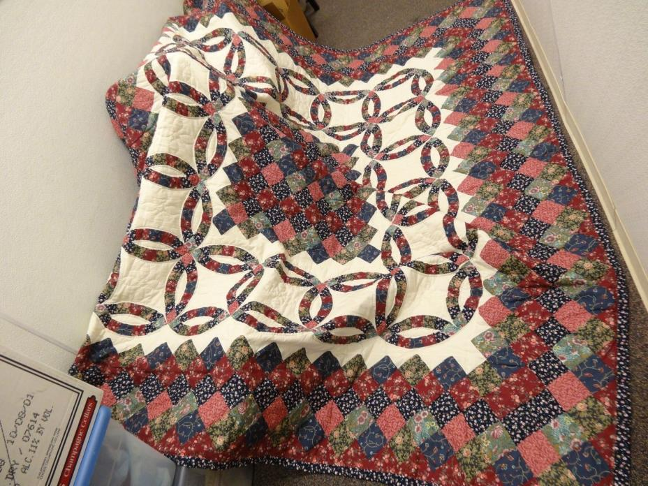 BEAUTIFUL Vintage Quilt Hand Sewn Stitched LARGE 84