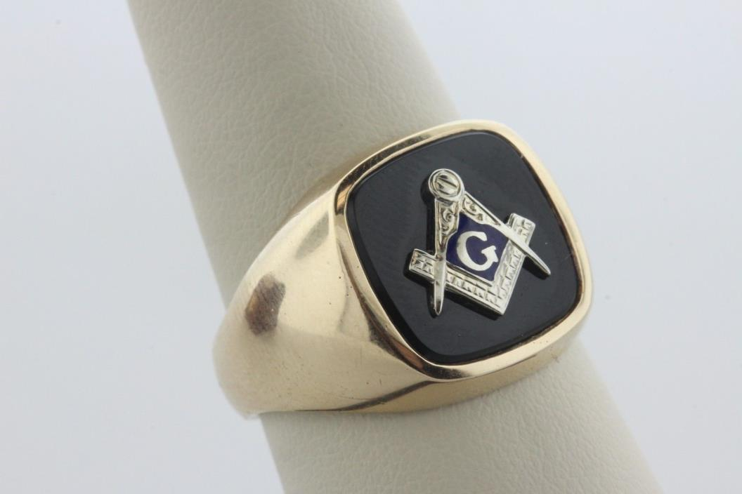 Onyx Masonic Compass G Blue Enamel Freemason Mason 10K Yellow Gold Mens Ring - 9