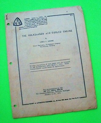 rare 1953 SAE REPORT - THE VOLKSWAGEN AIR-COOLED ENGINE 18-pgs ILLUSTR'D Orig'l
