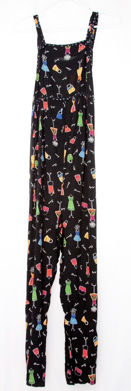 DUO MATERNITY Rayon Colorful Print Empire Waist Black Ankle Jumpsuit Sz S x 25