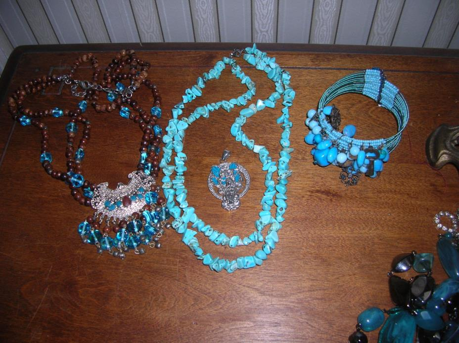 Lot of  Turquoise Color Jewelry 2 Necklaces One Bracelet One Pendant Pretty