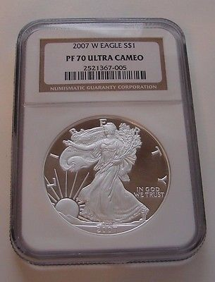 2007 W SILVER EAGLE PF 70 ULTRA CAMEO PROOF NGC