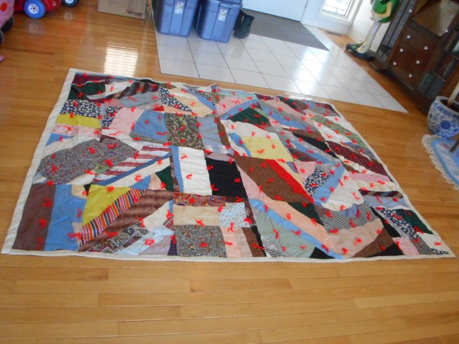 Vintage Primitive Home-Made Crazy Quilt, Red Yarn for Hand Tacking (AHB