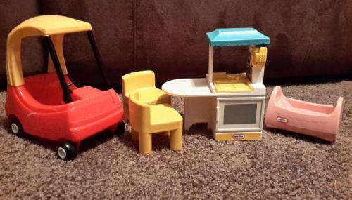 Little Tikes Dollhouse Lot Kitchen Chairs Cradle Cozy Coupe Car