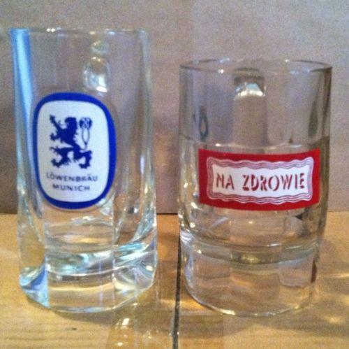 Vintage LOWENBRAU MUNICH & NA ZDROWIE Heavy Glass Beer Mugs