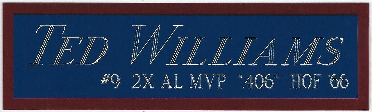 TED WILLIAMS NAMEPLATE FOR YOUR AUTOGRAPHED Signed BASEBALL JERSEY