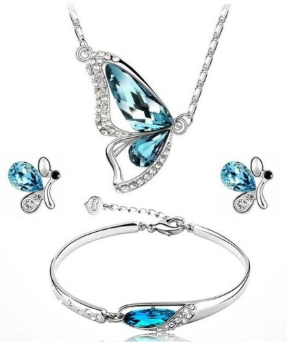 Young ladies Butterfly jewelry set Sky Blue