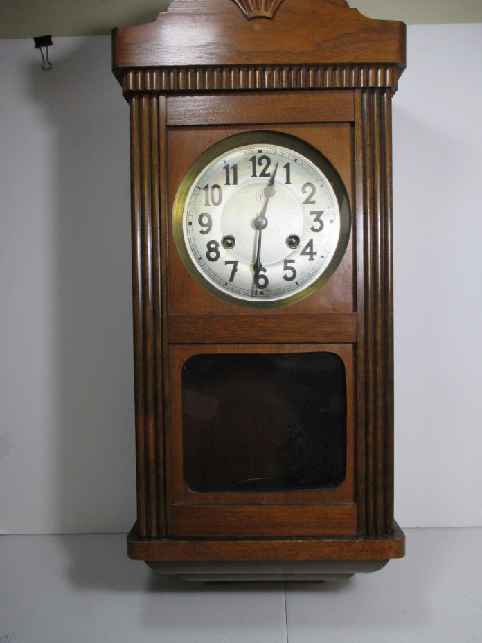 Junghans Antique Wooden Wall Clock Made in Germany - #777