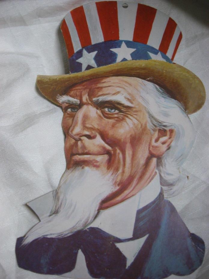 Vintage Patriotic Eureka Die Cut  Uncle Sam