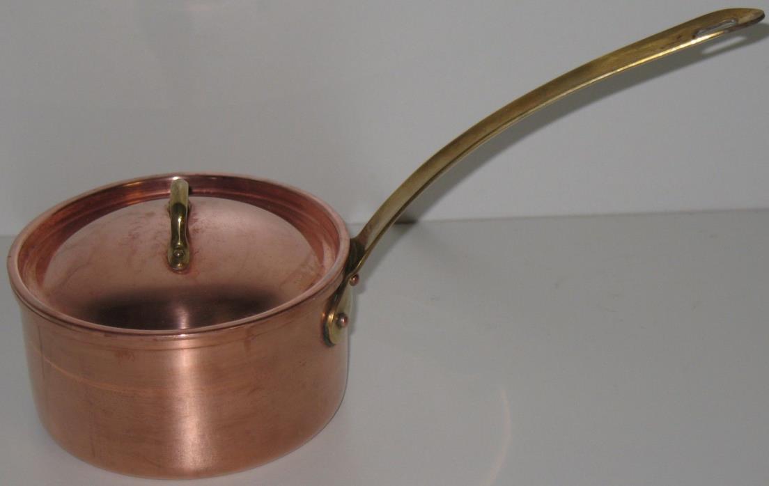 Small Vintage Portuguese Tagus Copper & Brass Saucepan Pot Pan & Lid Portugal