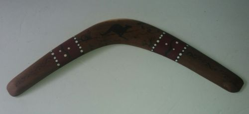 Vintage Wood Boomerang Australian Animal Kangaroo Carvings Mudi Dudi Tribe