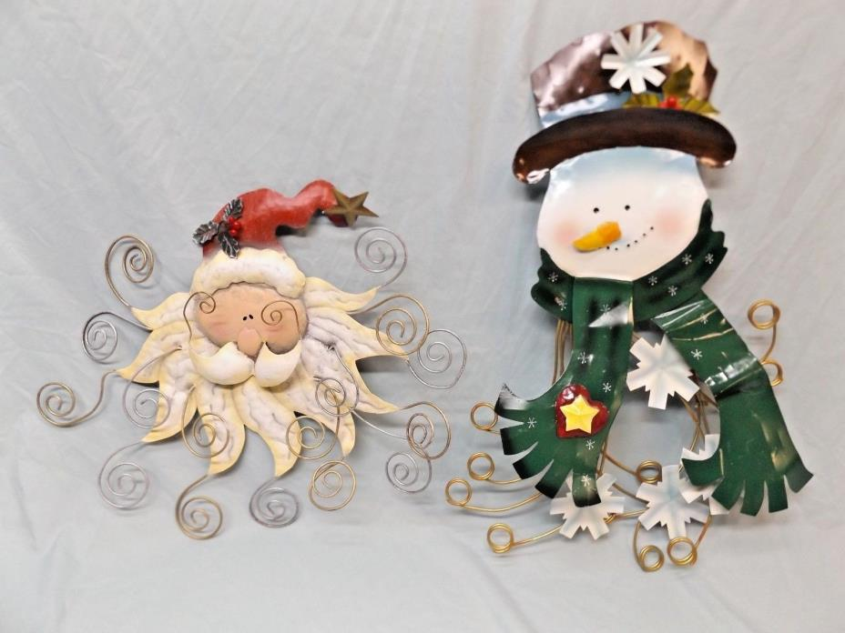 Santa & Snowman Vintage Metal Wall Holiday Decor