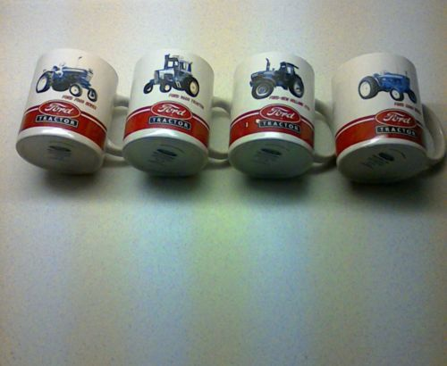 OFFICIAL FORD TRACTOR Coffee Cups/ Mugs Series: 7000,8730,9600,5000 -LOT OF 4