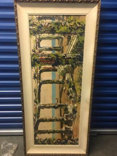 Paul Blaine Mid Century Modern Large Painting With Appraisal
