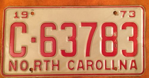 1973 North Carolina License Ta