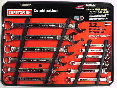 CRAFTSMAN 12 pc Combination Wrench Set 1/4 thru 7/8
