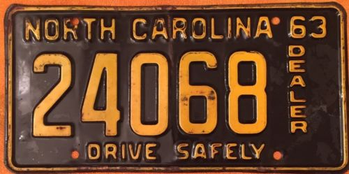 1963 North Carolina Dealer License Tag