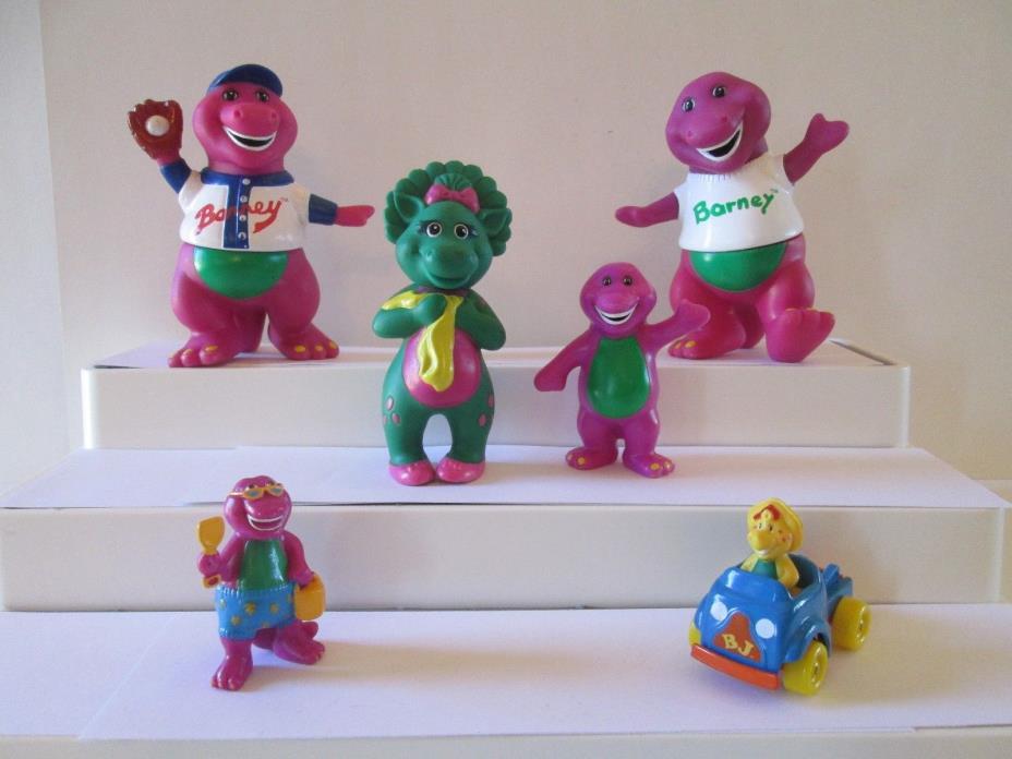 6 pc Barney & Friends Dinosaur toys baseball beach BJ Baby Bop Lyons Group