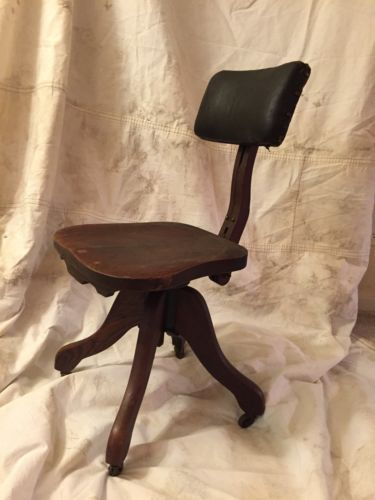 Antique Chair Stenographer Drafting Computer Vintage Office Desk  Bankers Chair