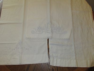 3 VINTAGE EMBROIDERED PILLOWCASES  Light Blue Embroidery Decorative Lace Cutaway