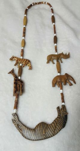 Vintage? African? Hand Carved Wood Safari Animal Necklace