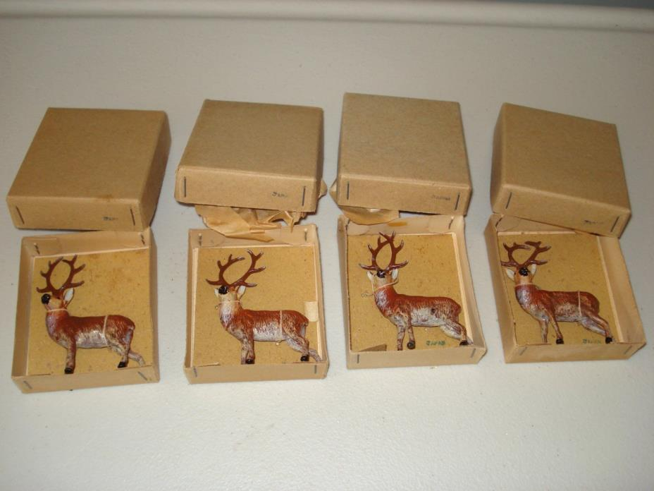 Vintage Lot (4) Metal Reindeer in Original Boxes - Japan - Excellent!