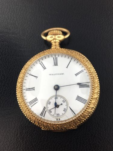 Vintage 14k yellow gold 15jewel Waltham engraved pocket watch