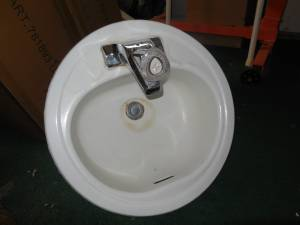 Used White Bathroom Round Sink 19