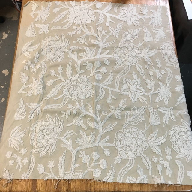 Vintage CREWEL FABRIC Ivory wool on Tan Linen 36 X 30 BEAUTIFUL Hand Embroidered