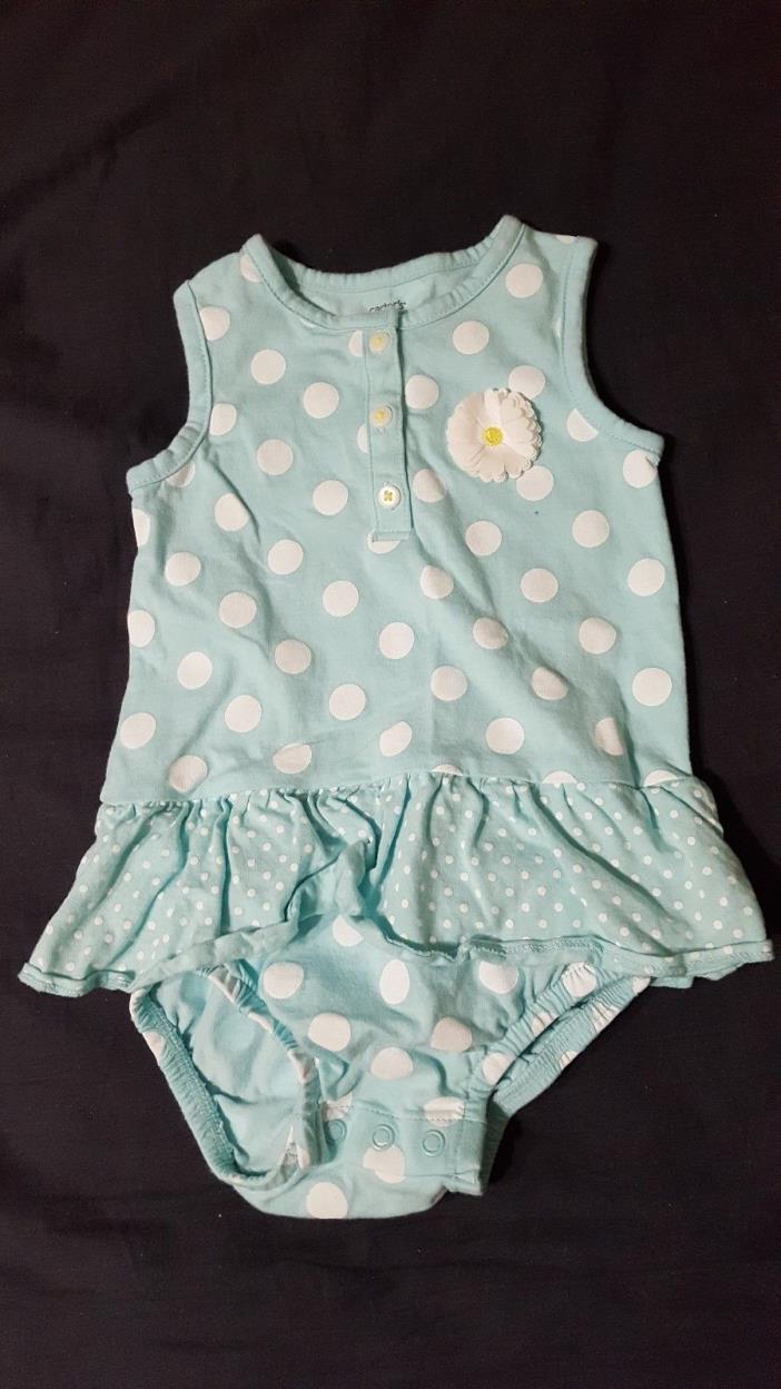 Carter's 18 Month Mint Polka Dot Flower Onesie Skirt Dress Easter Spring Summer