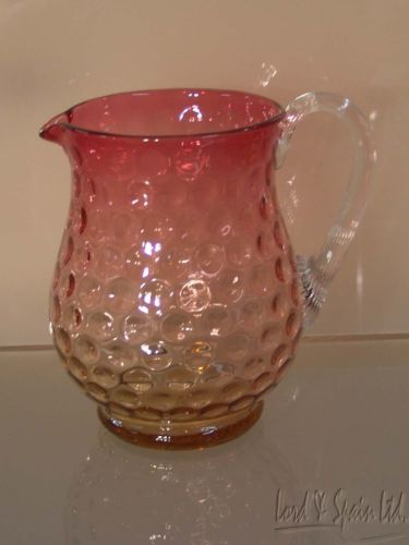 Vintage Amberina Inverted Thumbrpint or Coin Dot Pitcher W/Clear Reeded Handle
